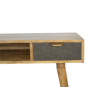 Tristan Desk comes in an oak finish with a deco style and is available from roomshaped.co.uk