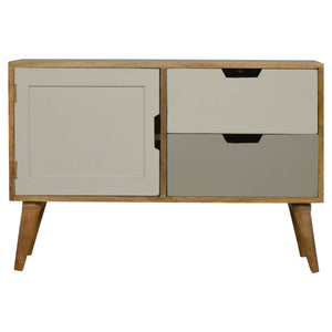Erik Storage Cabinet comes in grey with a painted style and is available from roomshaped.co.uk