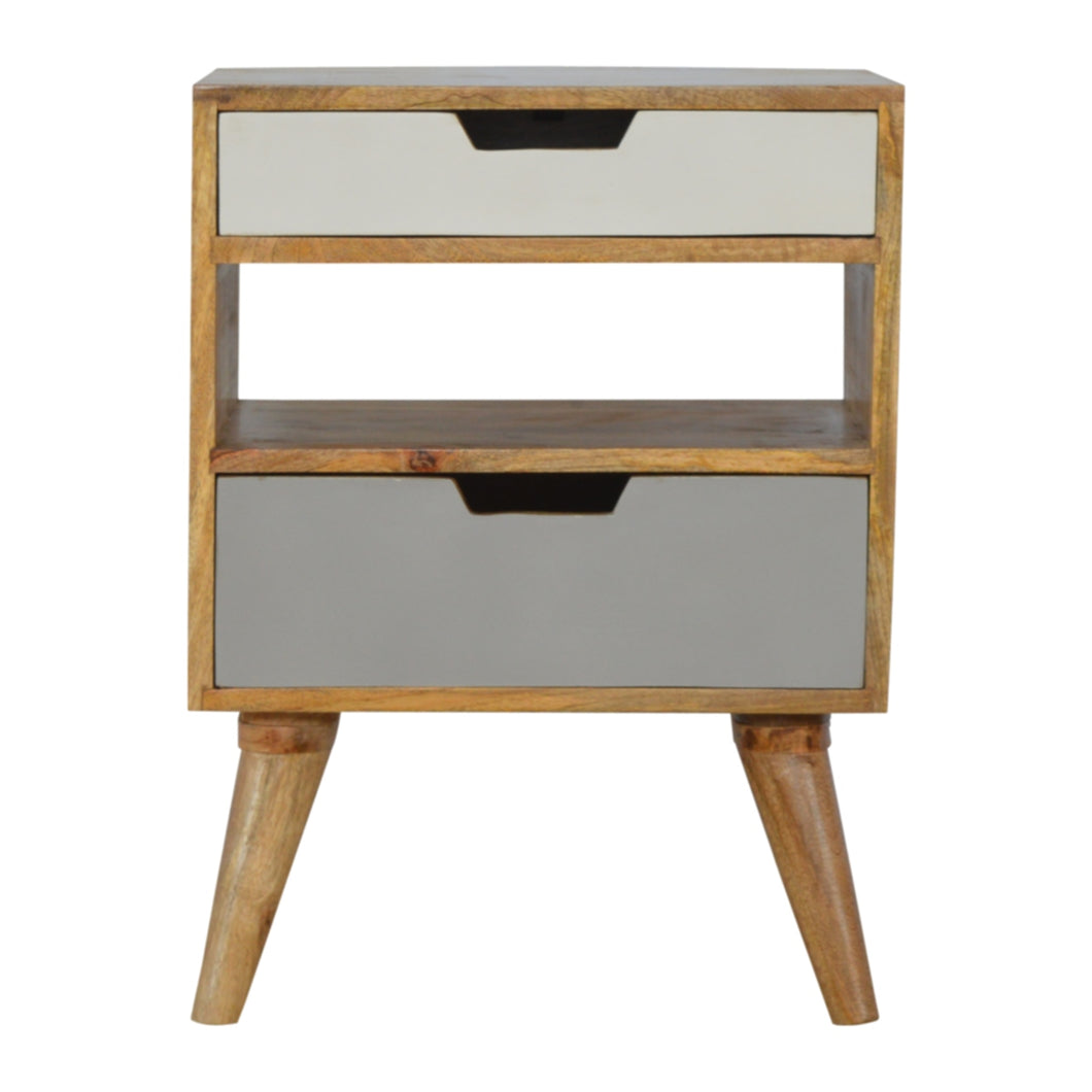 Hans Bedside Cabinet comes in grey with a painted style and is available from roomshaped.co.uk