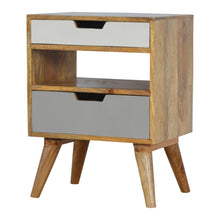 Load image into Gallery viewer, Hans Bedside Cabinet comes in grey with a painted style and is available from roomshaped.co.uk