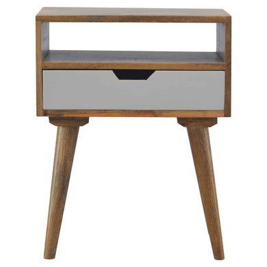 Ake Bedside Table comes in white with a painted style and is available from roomshaped.co.uk