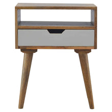 Load image into Gallery viewer, Ake Bedside Table comes in grey and white with a painted style and is available from roomshaped.co.uk