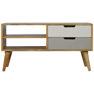 Lars Media Unit comes in grey with a painted style and is available from roomshaped.co.uk