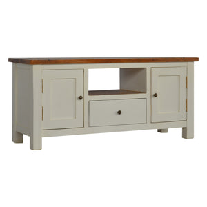 Elise Media Cabinet comes in white with a country style and is available from roomshaped.co.uk