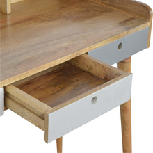 Load image into Gallery viewer, Chetwode Desk comes in grey with a painted style and is available from roomshaped.co.uk