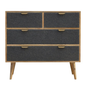 Nicolas Chest of Drawers comes in grey with a deco style and is available from roomshaped.co.uk