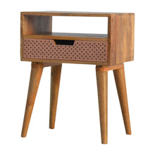 Load image into Gallery viewer, Logan Bedside Table comes in a copper finish and an oak finish with a metallic style and is available from roomshaped.co.uk