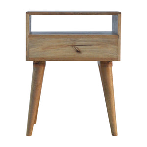 Logan Bedside Table comes in a copper finish and an oak finish with a metallic style and is available from roomshaped.co.uk