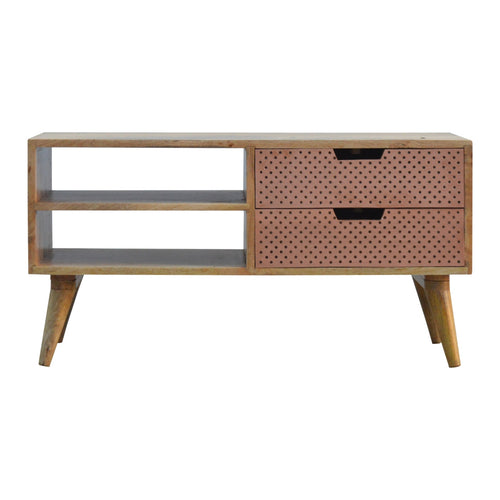 Liam Media Unit comes in a copper finish and an oak finish with a metallic style and is available from roomshaped.co.uk