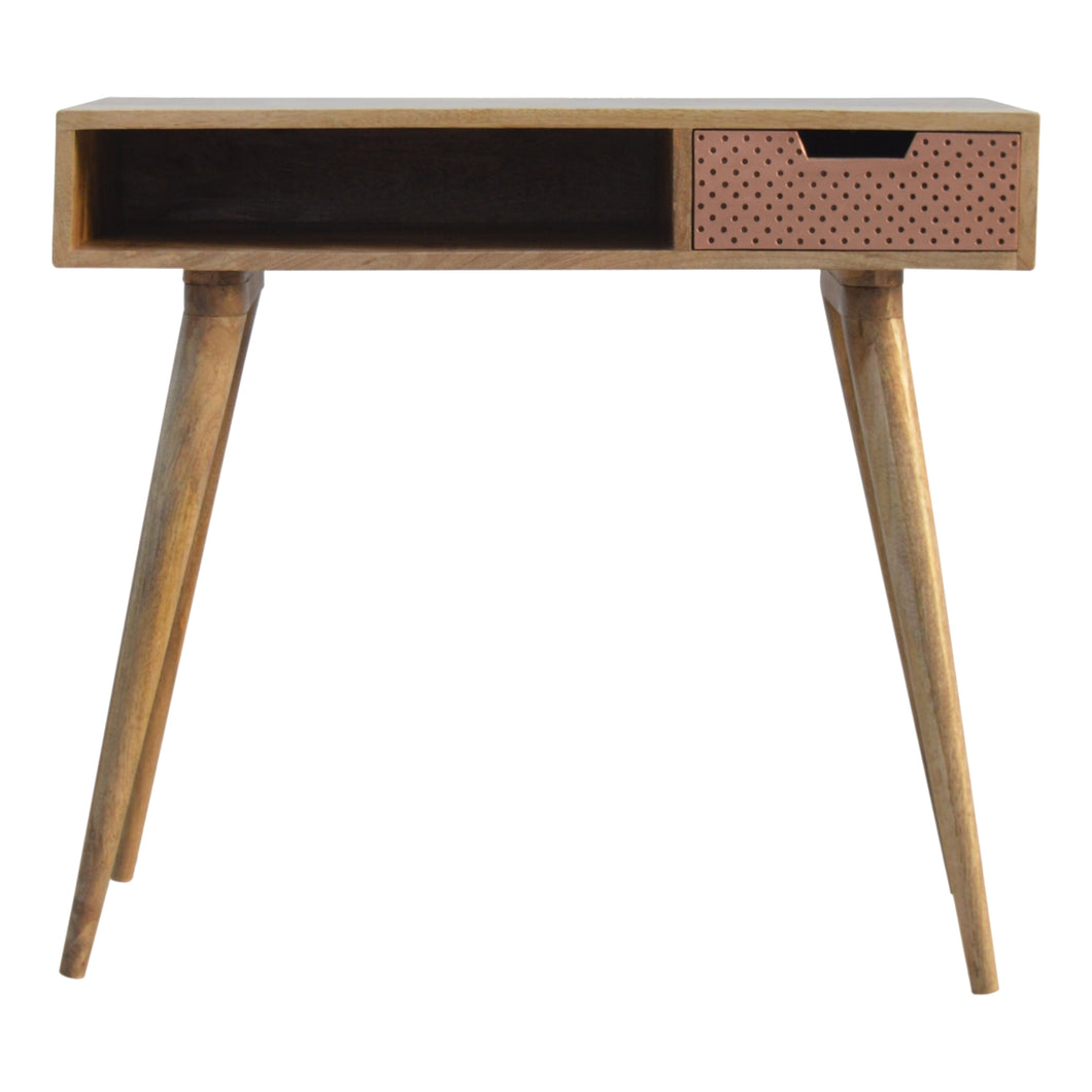 Oxney Writing Desk comes in a copper finish and an oak finish with a metallic style and is available from roomshaped.co.uk