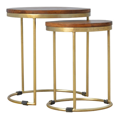 Rimini Nesting Stools comes in chestnut and a gold finish with a gold frame style and is available from roomshaped.co.uk