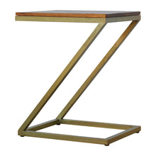 Load image into Gallery viewer, Meeri Side Table comes in chestnut and a gold finish with a gold frame style and is available from roomshaped.co.uk