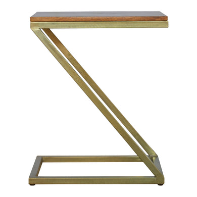 Meeri Side Table comes in chestnut and a gold finish with a gold frame style and is available from roomshaped.co.uk