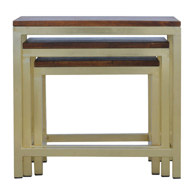 Sienna Nest Tables comes in a chestnut finish with a metallic style and is available from roomshaped.co.uk