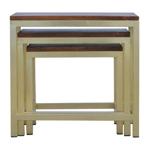 Sienna Nest Tables comes in chestnut and a gold finish with a gold frame style and is available from roomshaped.co.uk