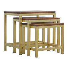 Load image into Gallery viewer, Sienna Nest Tables comes in chestnut and a gold finish with a gold frame style and is available from roomshaped.co.uk