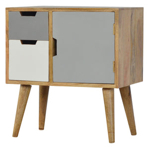 Louise Cabinet comes in grey with a painted style and is available from roomshaped.co.uk
