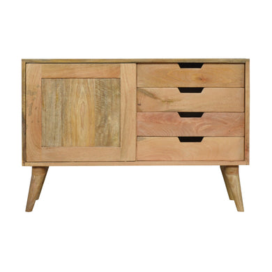 Jan Sliding Sideboard comes in an oak finish and is available from roomshaped.co.uk