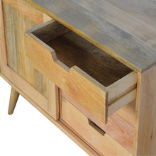 Load image into Gallery viewer, Jan Sliding Sideboard comes in an oak finish and is available from roomshaped.co.uk