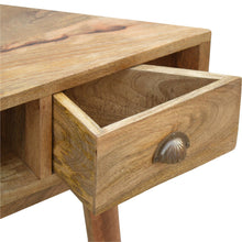 Load image into Gallery viewer, Marlow Corner Desk comes in an oak finish and is available from roomshaped.co.uk