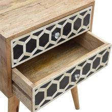 Load image into Gallery viewer, Albert Bedside Table comes in black and an oak finish with a geometric style and is available from roomshaped.co.uk