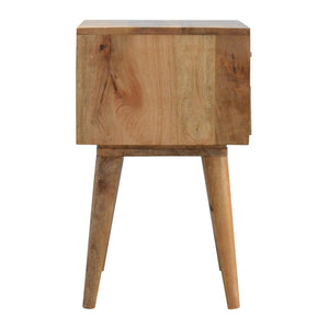 Albert Bedside Table comes in black and an oak finish with a geometric style and is available from roomshaped.co.uk