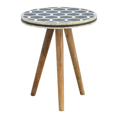 Antek Side Table comes in black and an oak finish with a geometric style and is available from roomshaped.co.uk