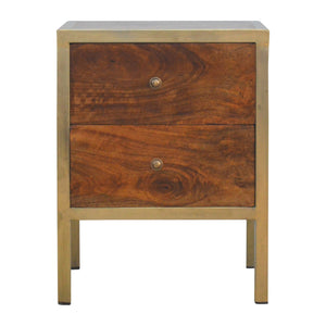 Modica Bedside Table comes in chestnut and a gold finish with a gold frame style and is available from roomshaped.co.uk