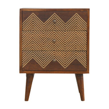 Load image into Gallery viewer, Agnes Chest of Drawers comes in chestnut with a geometric style and is available from roomshaped.co.uk