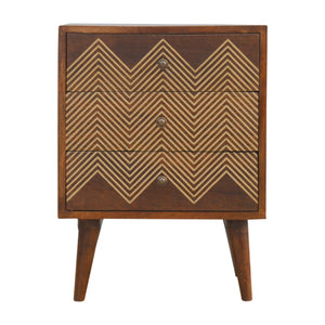 Agnes Chest of Drawers comes in a chestnut finish with a metallic style and is available from roomshaped.co.uk
