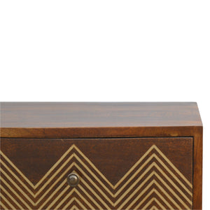 Agnes Chest of Drawers comes in chestnut with a geometric style and is available from roomshaped.co.uk