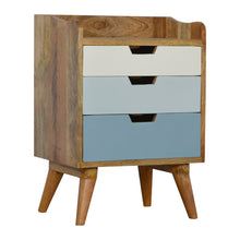 Load image into Gallery viewer, Sem Bedside Drawers comes in blue and white with a painted style and is available from roomshaped.co.uk