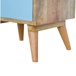 Sem Bedside Drawers comes in blue and white with a painted style and is available from roomshaped.co.uk