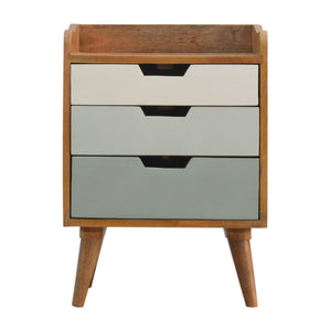 Jenny Bedside Drawers comes in an oak finish with a painted style and is available from roomshaped.co.uk