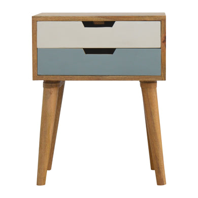 Daan Bedside Cabinet comes in blue and white and is available from roomshaped.co.uk