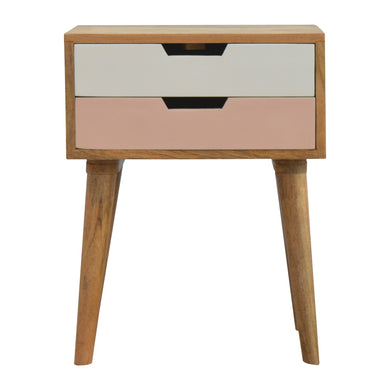 Evi Bedside Drawers comes in grey and pink with a painted style and is available from roomshaped.co.uk