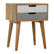 Load image into Gallery viewer, Maria Bedside Table comes in grey with a painted style and is available from roomshaped.co.uk