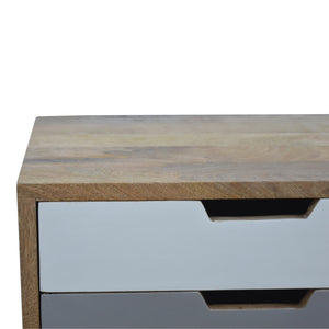 Maria Bedside Table comes in grey with a painted style and is available from roomshaped.co.uk