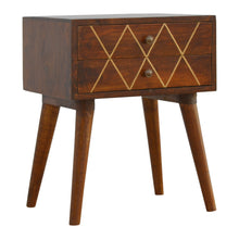 Load image into Gallery viewer, Freja Bedside Drawers comes in chestnut with a geometric style and is available from roomshaped.co.uk