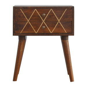 Freja Bedside Drawers comes in chestnut with a geometric style and is available from roomshaped.co.uk