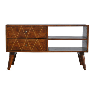 Lena Media Unit comes in chestnut with a geometric style and is available from roomshaped.co.uk