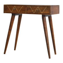 Load image into Gallery viewer, Shap Inlay Console comes in chestnut and a gold finish with a deco style and is available from roomshaped.co.uk