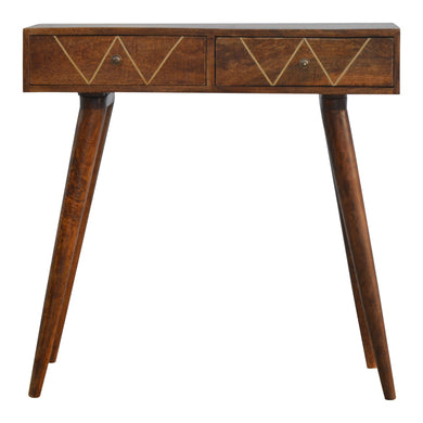 Shap Inlay Console comes in a chestnut finish with a metallic style and is available from roomshaped.co.uk