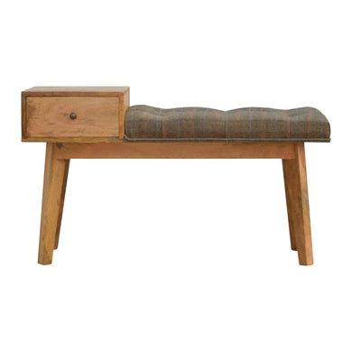 Felicity Tweed Bench comes in brown with a country style and is available from roomshaped.co.uk