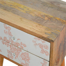 Load image into Gallery viewer, Edith Bedside Table comes in pink and white with a country style and is available from roomshaped.co.uk