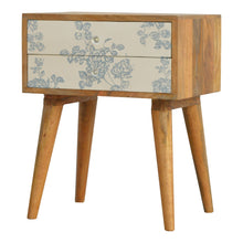 Load image into Gallery viewer, Elvira Bedside Table comes in blue and white with a painted style and is available from roomshaped.co.uk