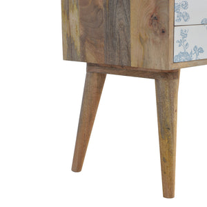 Elvira Bedside Table comes in blue and white with a painted style and is available from roomshaped.co.uk