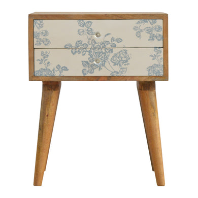 Elvira Bedside Table comes in blue with a painted style and is available from roomshaped.co.uk