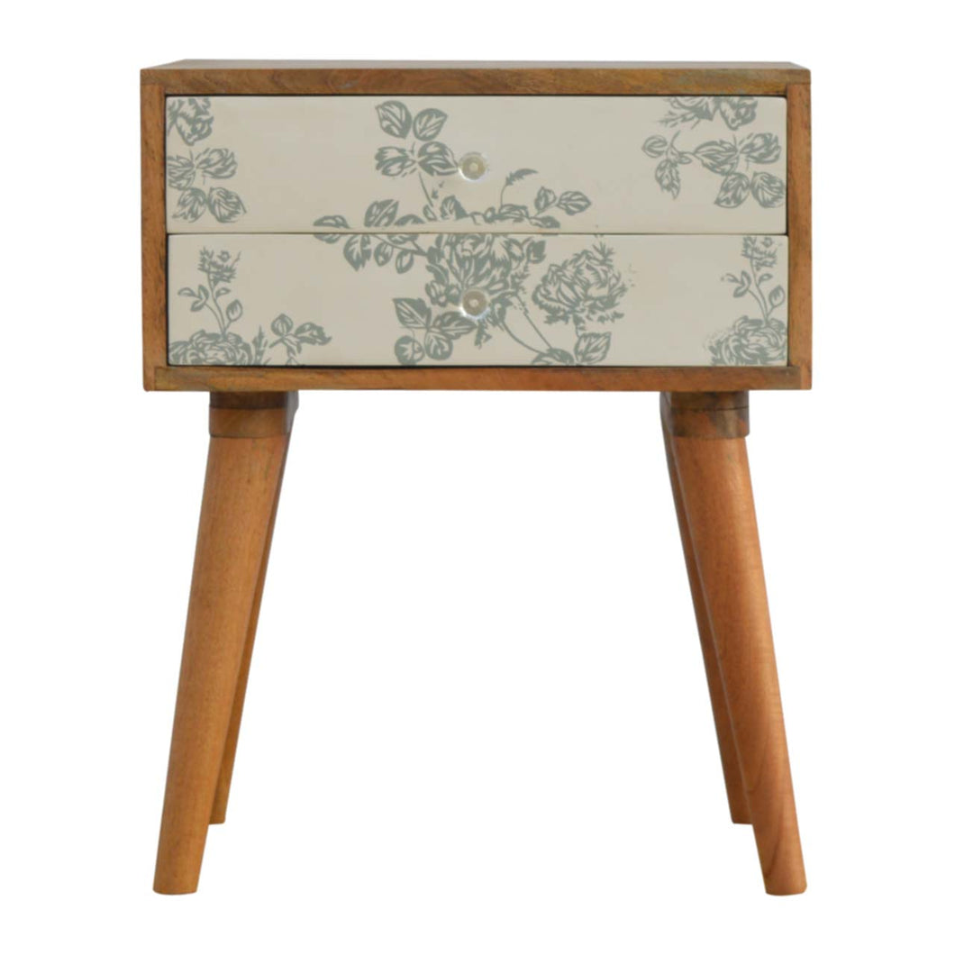 Iris Bedside Table comes in green and grey and white with a painted style and is available from roomshaped.co.uk
