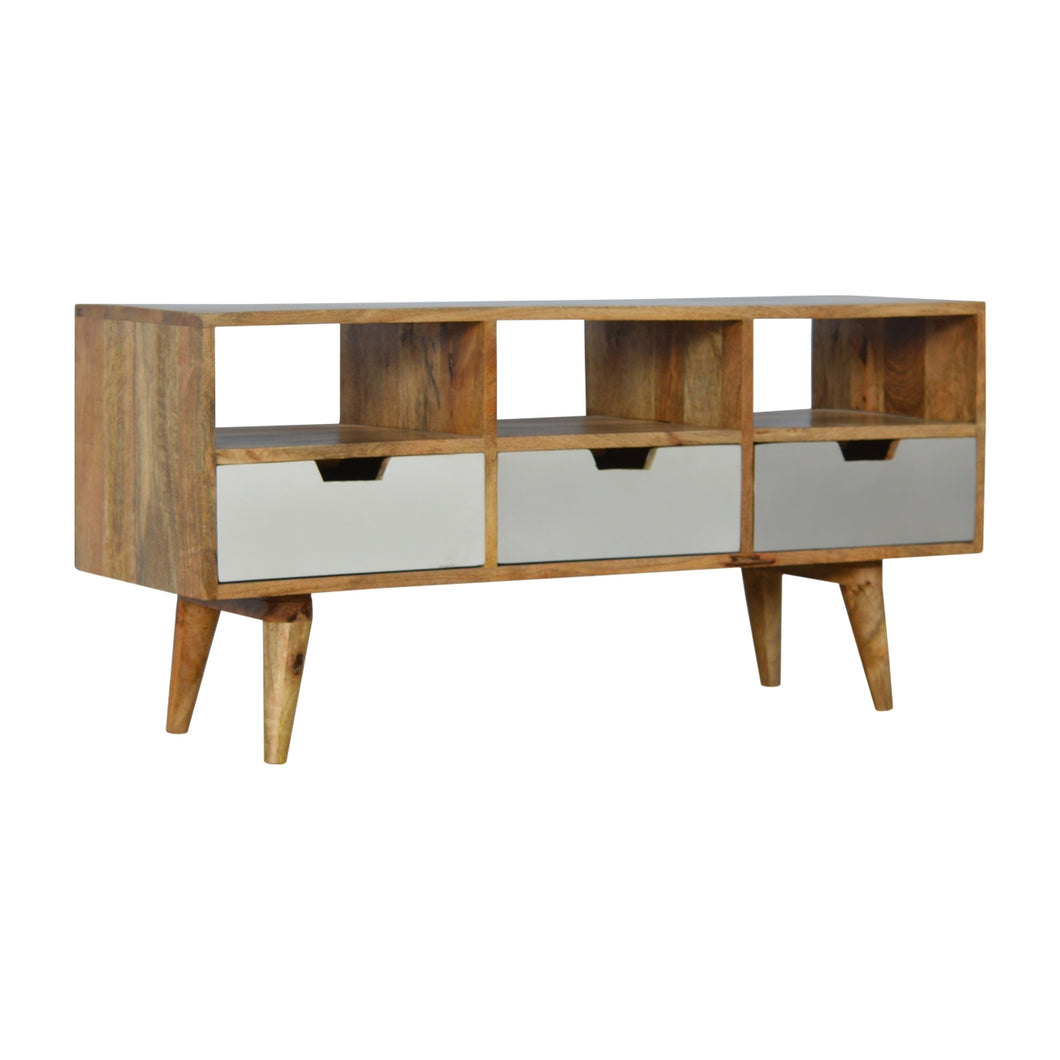 Mikael Media Unit comes in grey with a painted style and is available from roomshaped.co.uk